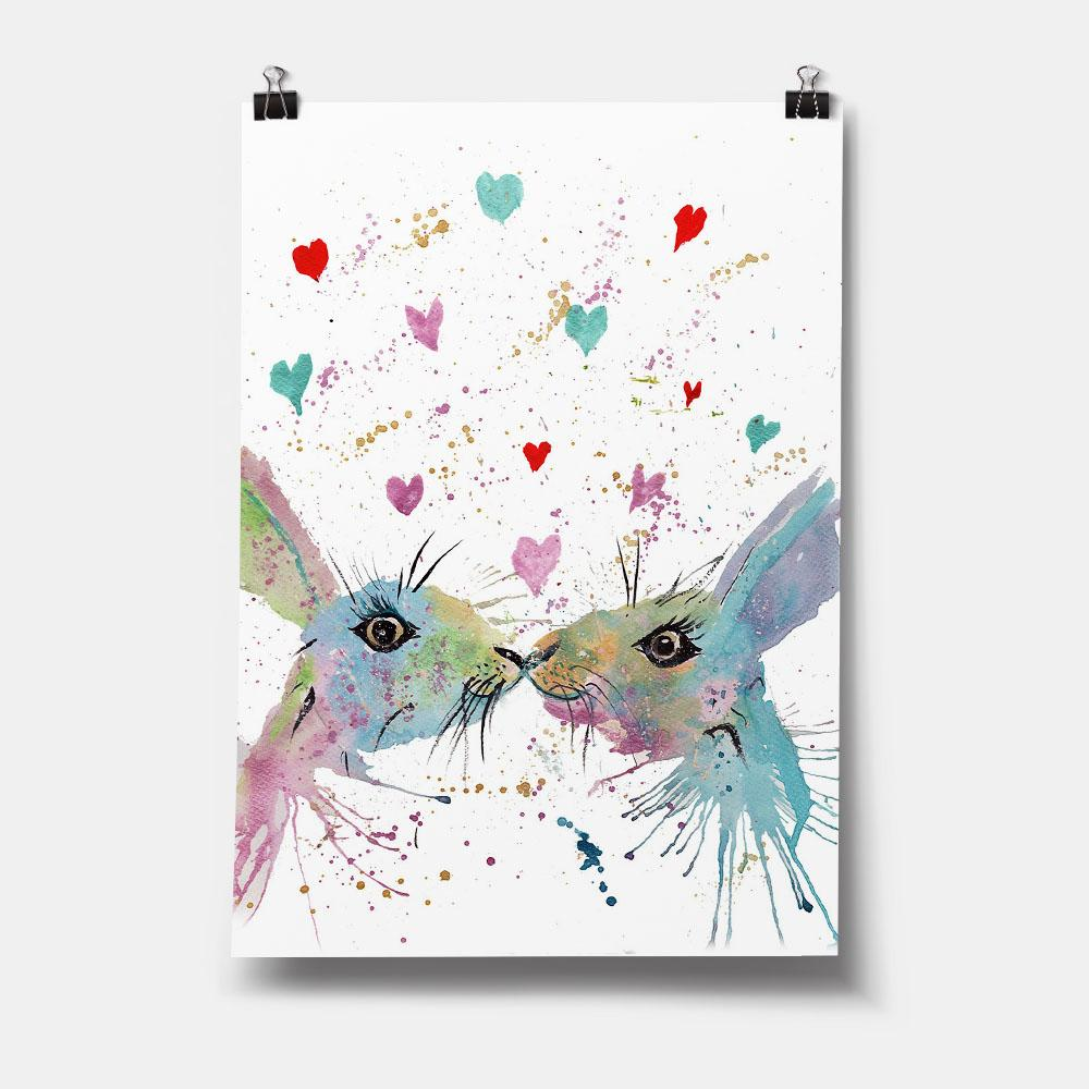 Bunnies in Love Art Print