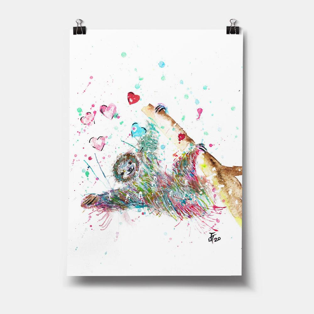 """Hang With Me"" Sloth Art Print"