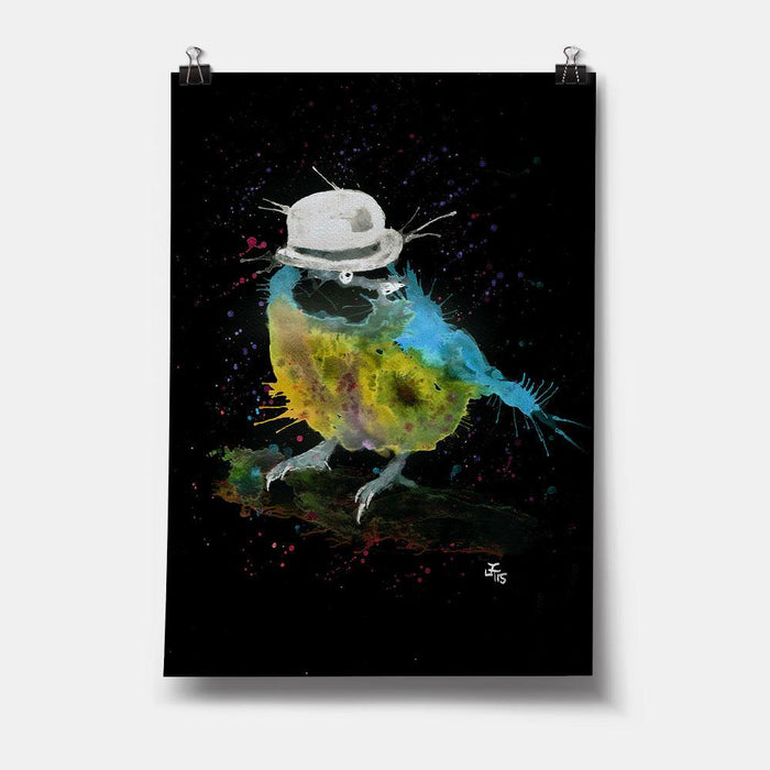 Bluetit Bowler Enchanted Art Print