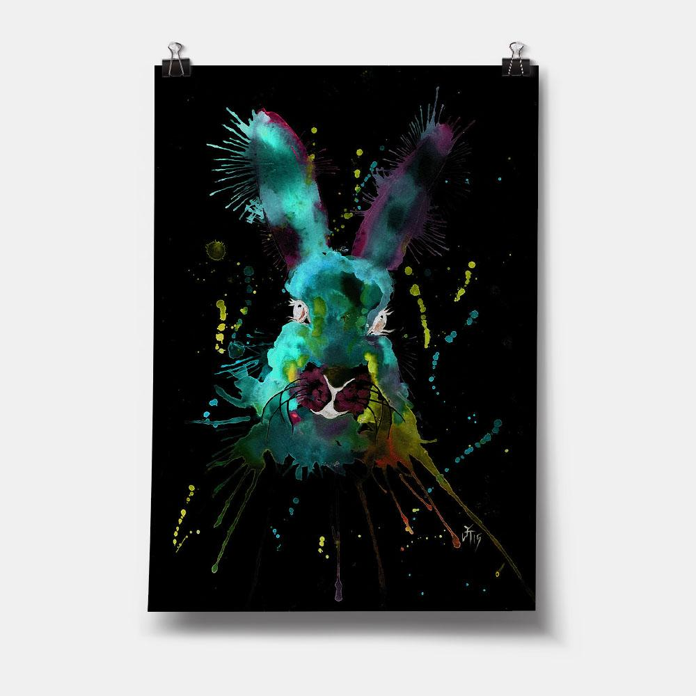 Pink & Green Hare Enchanted Art Print