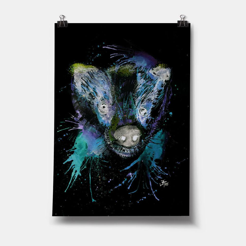 """Badge"" Badger Enchanted Art Print"