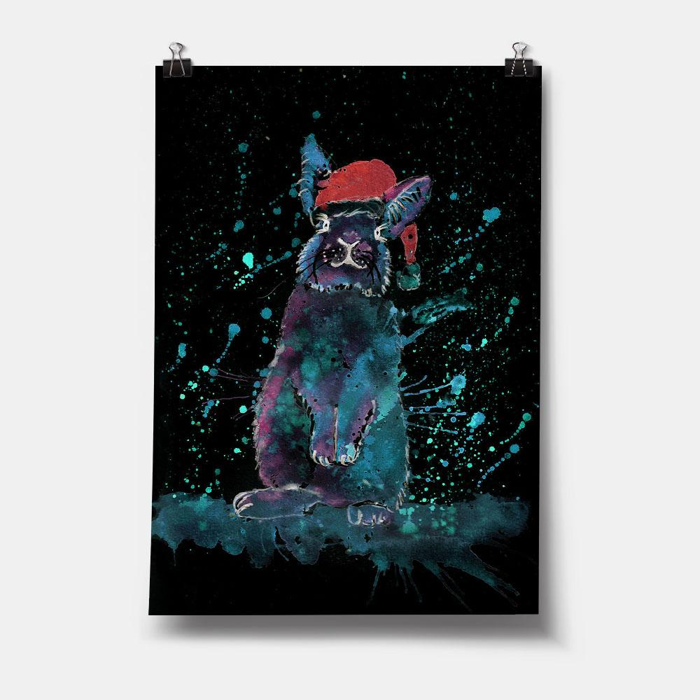 Christmas Bunny Enchanted Art Print
