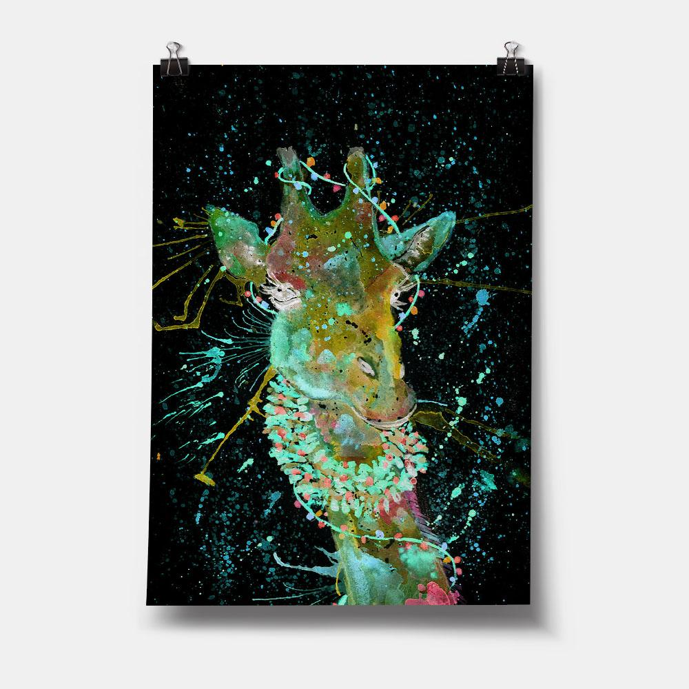 Christmas Wreath Giraffe Enchanted Art Print