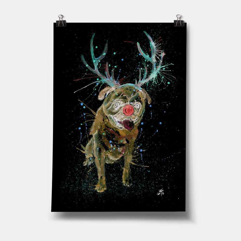 Christmas Pug Enchanted Art Print