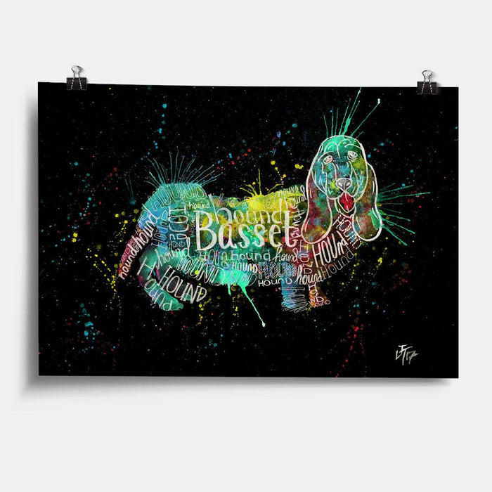 Basset Splash Enchanted Art Print