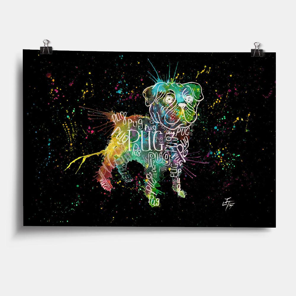 Pug Splash Enchanted Art Print
