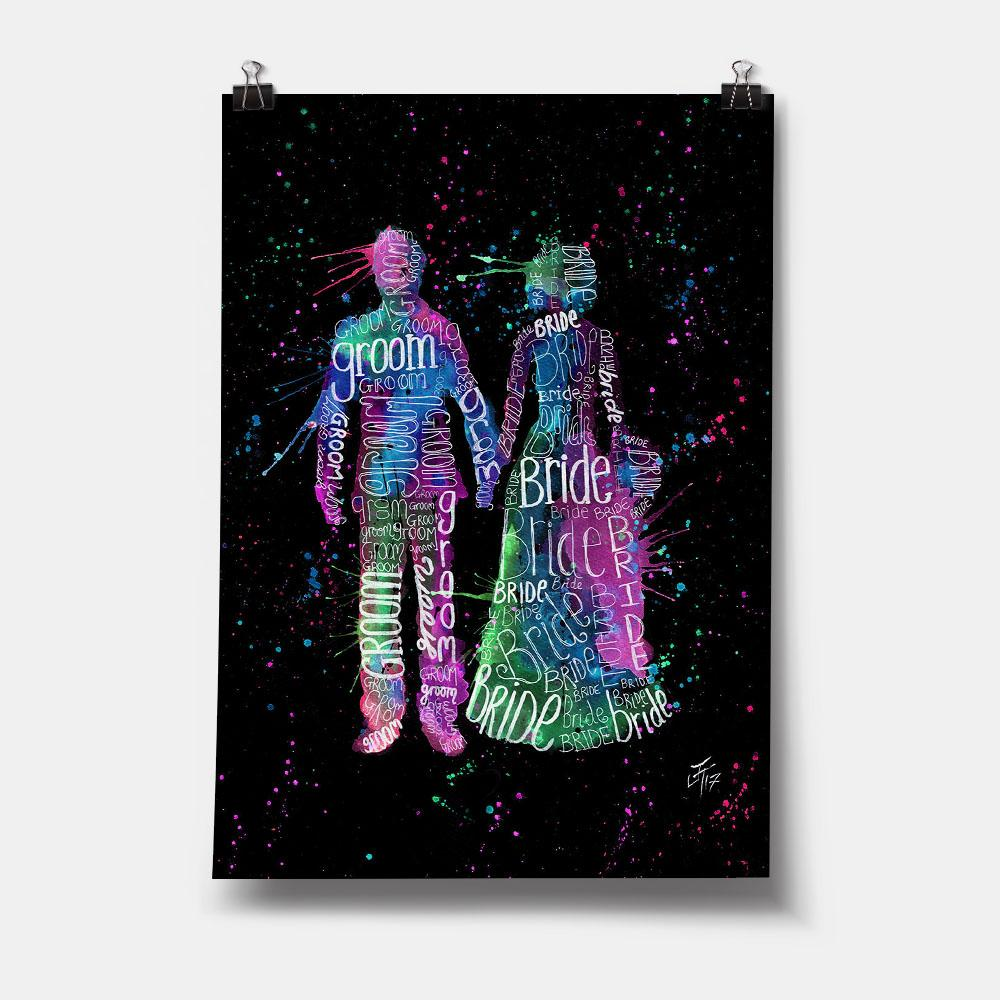 Bride & Groom (Pink) Enchanted Art Print