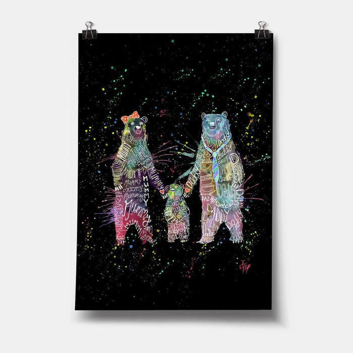 Mummy, Babby, Daddy Bears Enchanted Art Print