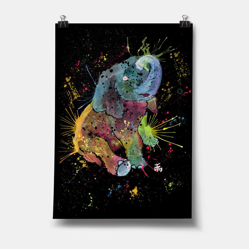 Baby Elephant Enchanted Art Print