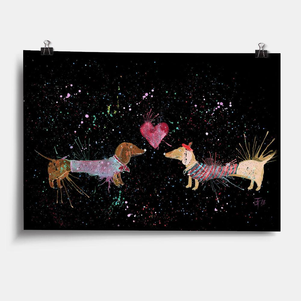 Sausage Dogs in Love Enchanted Art Print