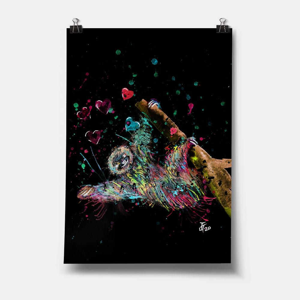 """Hang With Me"" Sloth Enchanted Art Print"