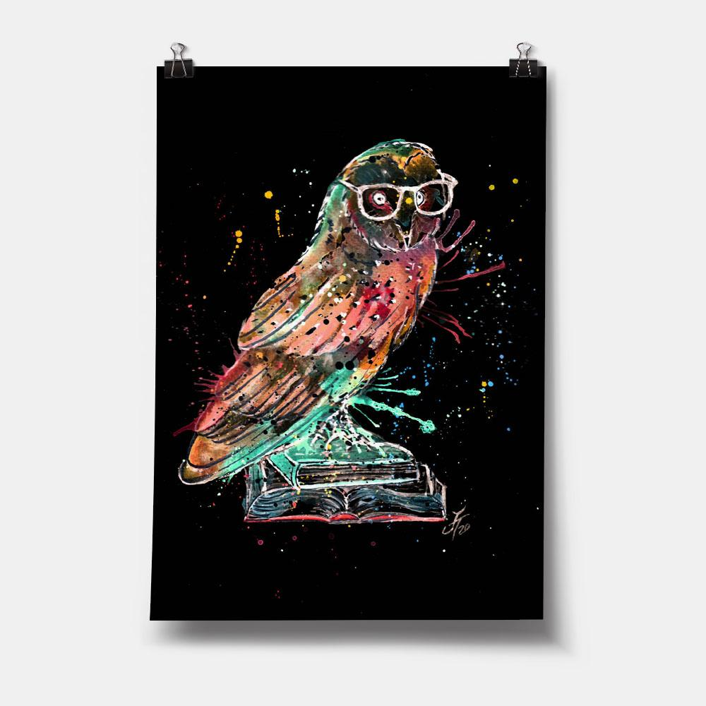 """Knowledge"" Owl Enchanted Art Print"