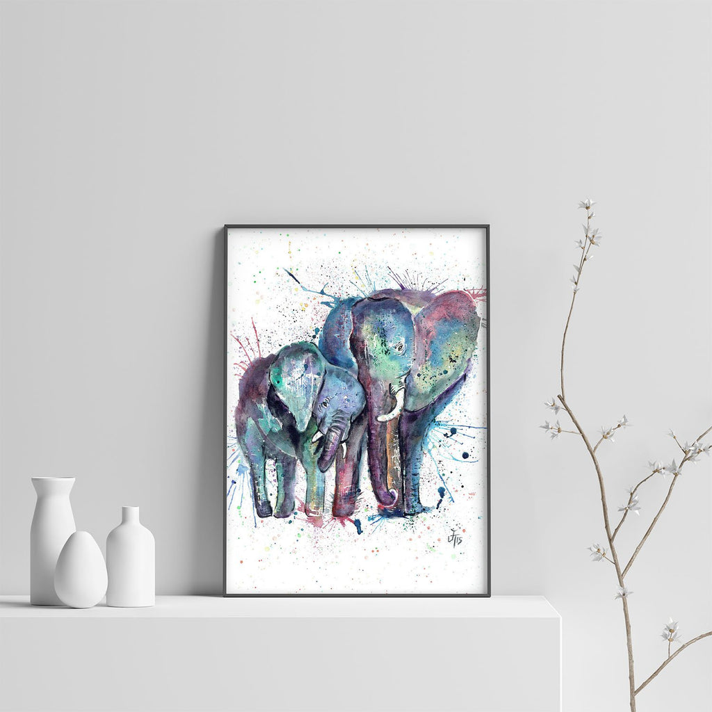"""Us"" Mummy & Babby Elephant Art Print"