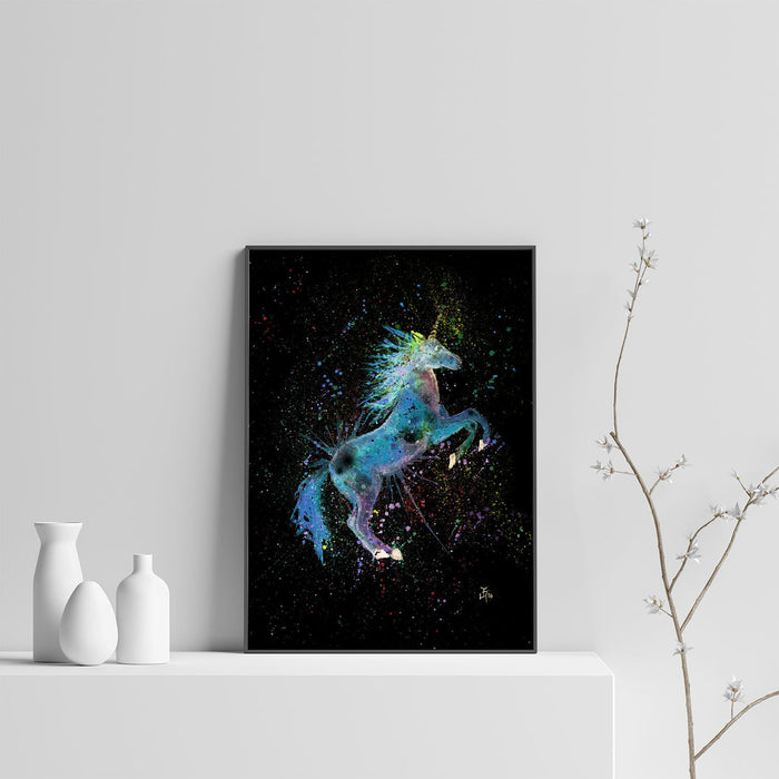 Blue Unicorn Enchanted Art Print