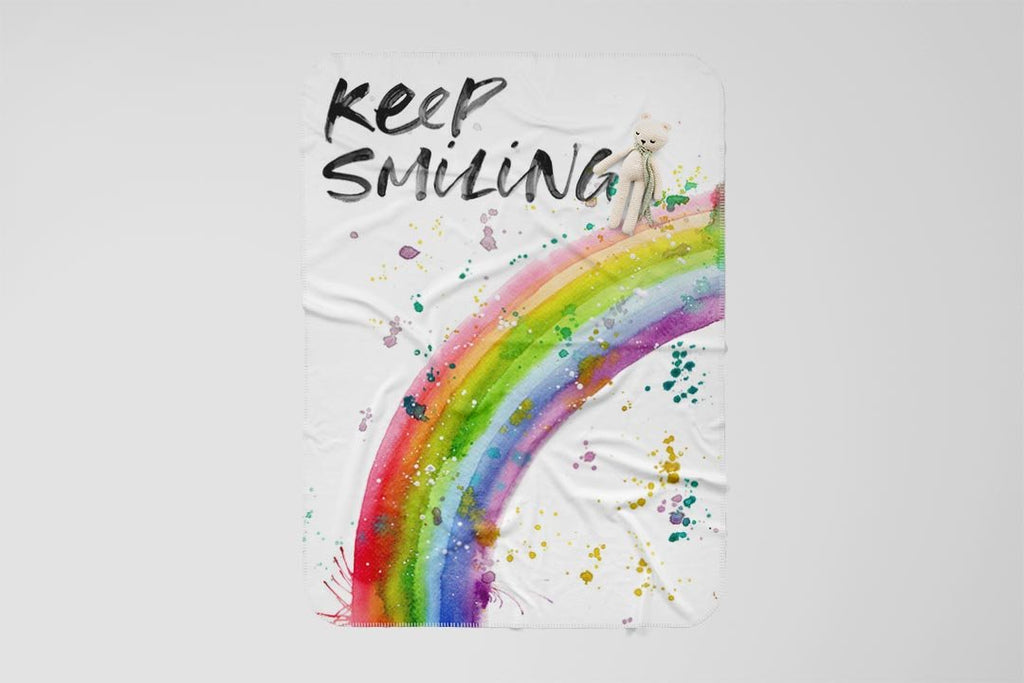 Keep Smiling Rainbow Fleece Blanket
