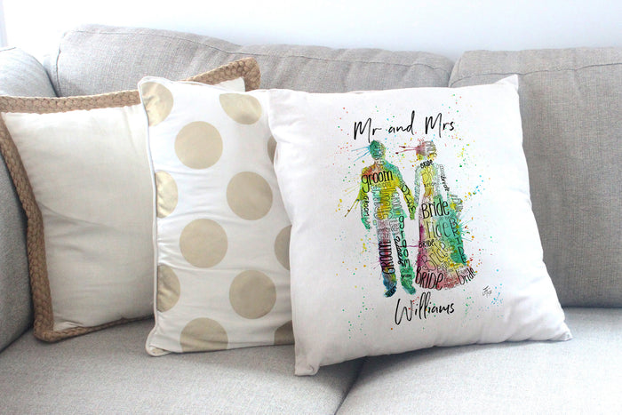 Bride and groom customised cushion cover 45 x 45 cm