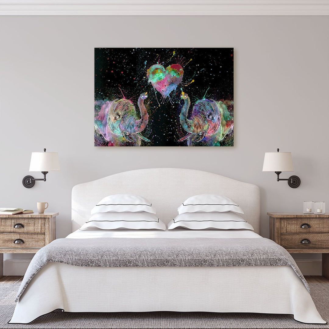 Romantic Elephants Enchanted Canvas Print
