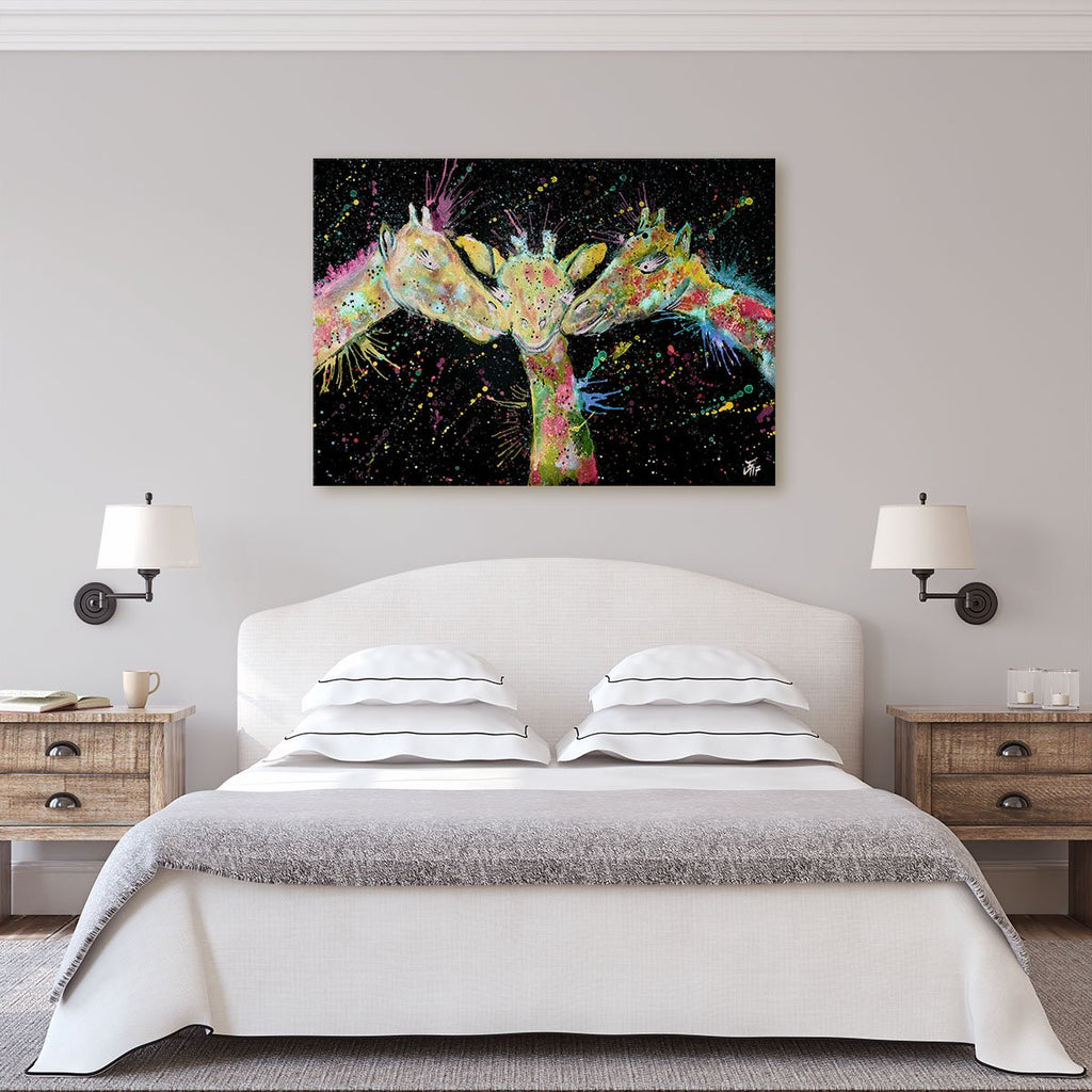 """Together"" Giraffes Enchanted Canvas Print"