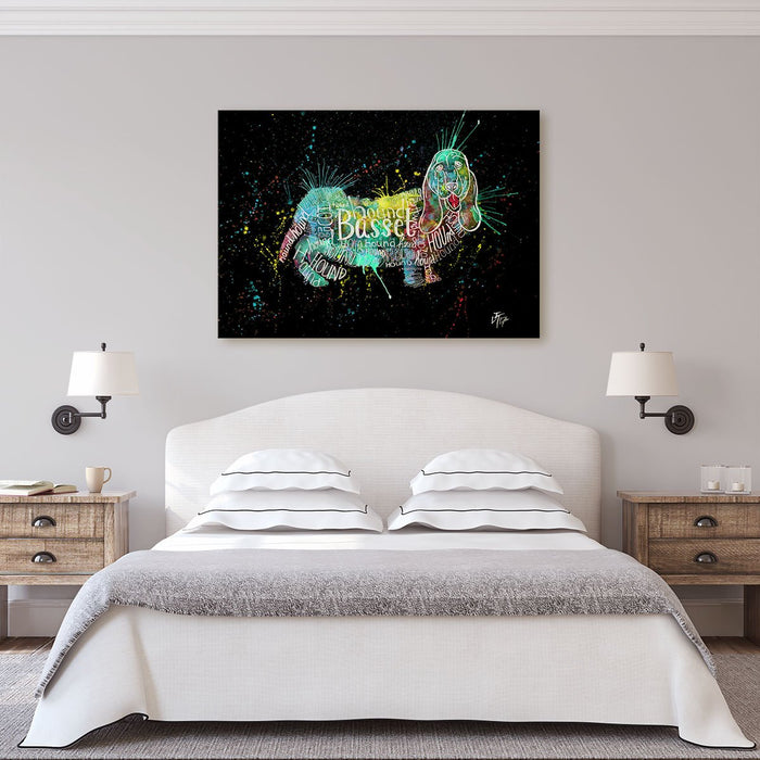 Basset Splash Enchanted Canvas Print