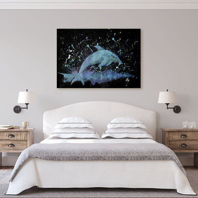 """Bottle"" Dolphin Enchanted Canvas Print"