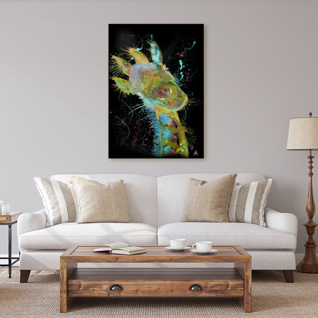 """Hattie"" Giraffe Enchanted Canvas Print"