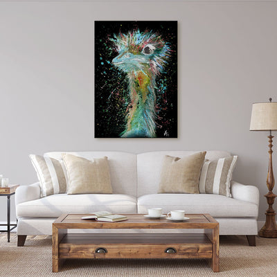 """Ethel"" Ostrich Enchanted Canvas Print"