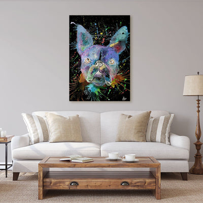 """Bruno"" Boston Terrier Enchanted Canvas Print"