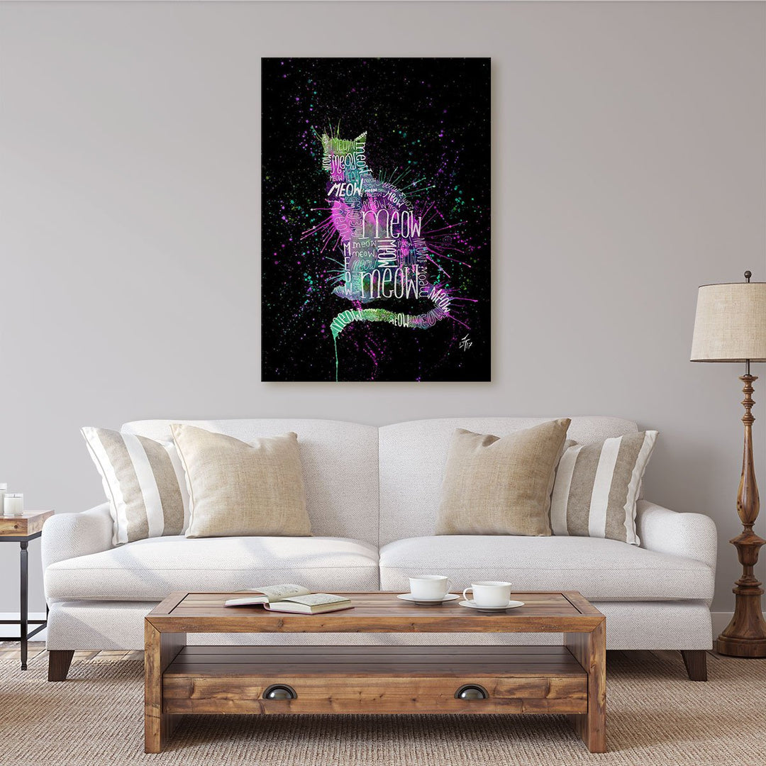 """Meow"" Pink Enchanted Canvas Print"