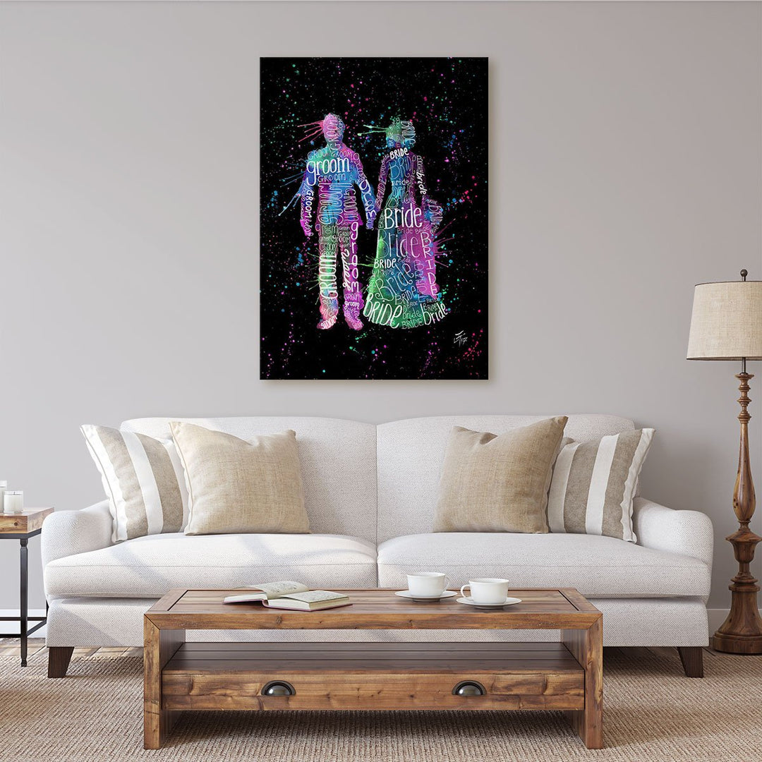 Bride & Groom (Pink) Enchanted Canvas Print