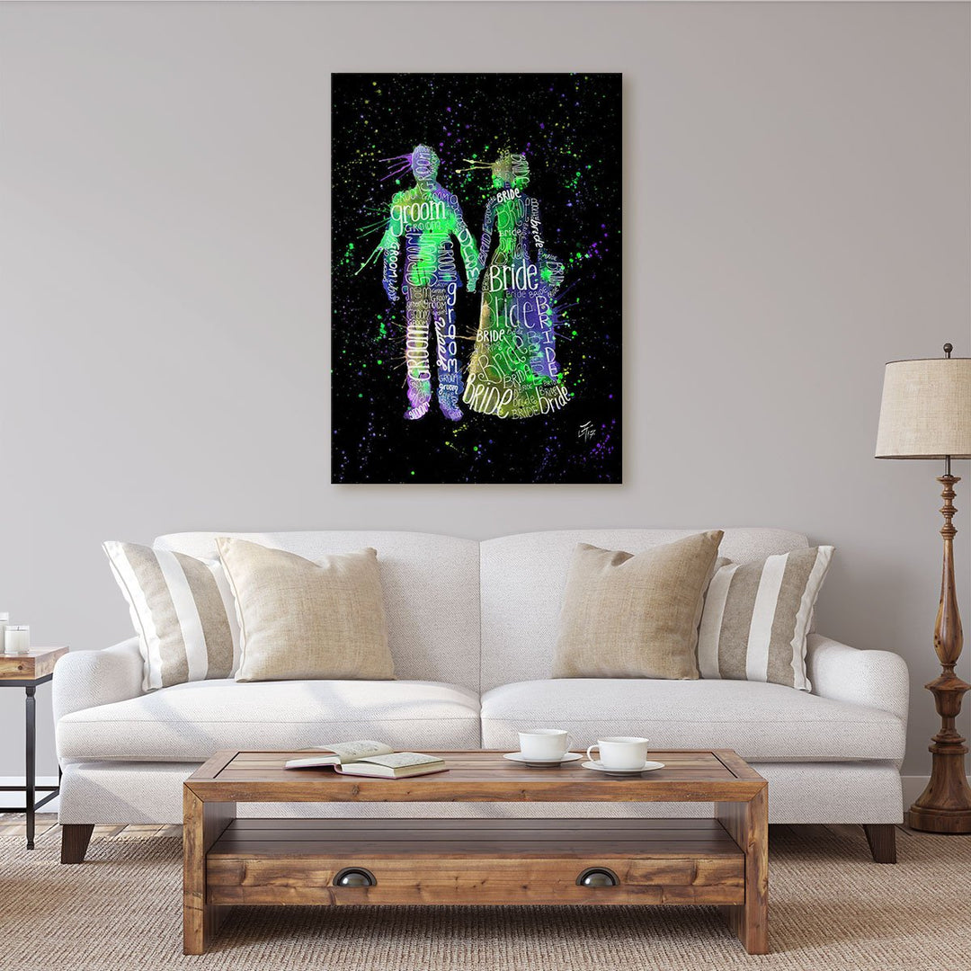 Bride & Groom (Green) Enchanted Canvas Print
