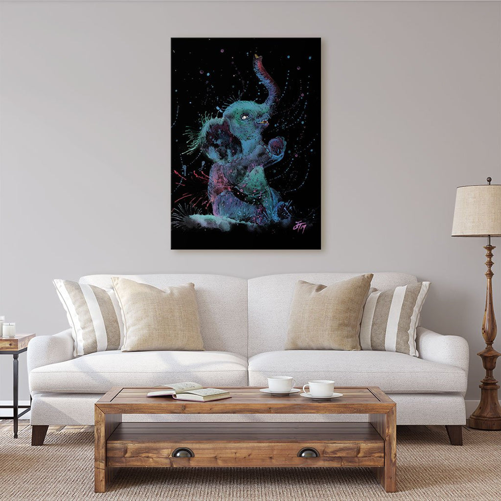 """Arthur"" Baby Elephant Enchanted Canvas Print"
