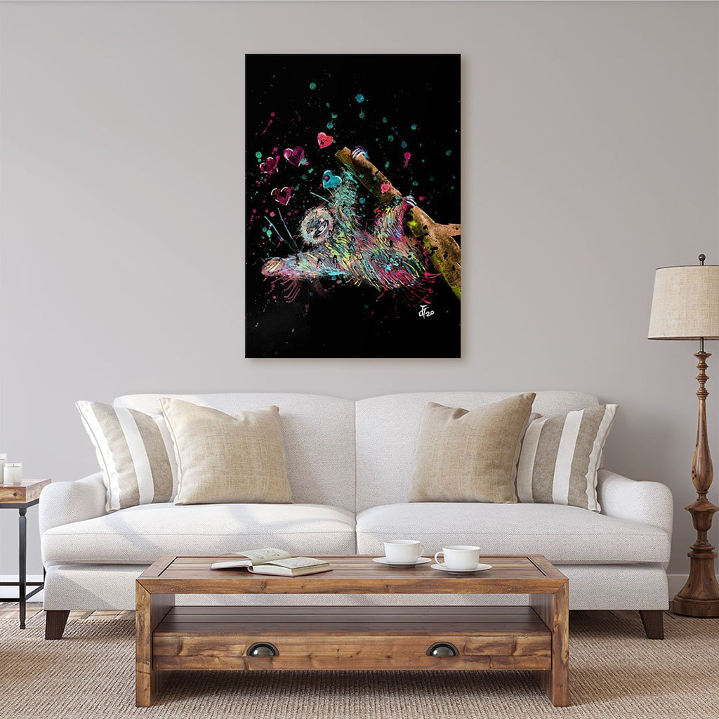 """Hang With Me"" Sloth Enchanted Canvas Print"
