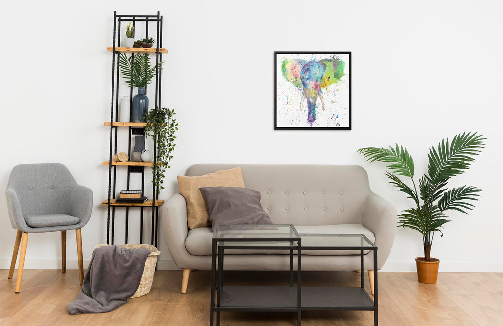 """Major"" Elephant Square Framed Canvas Print"