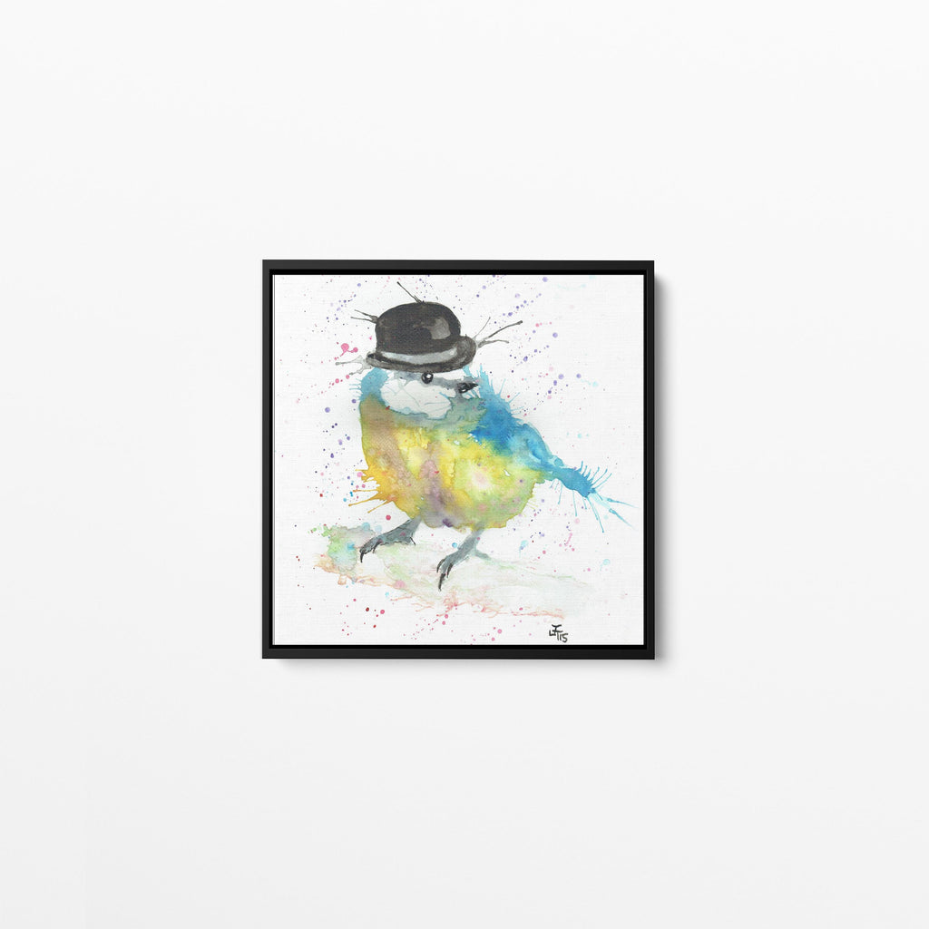 Bluetit Bowler Square Framed Canvas Print