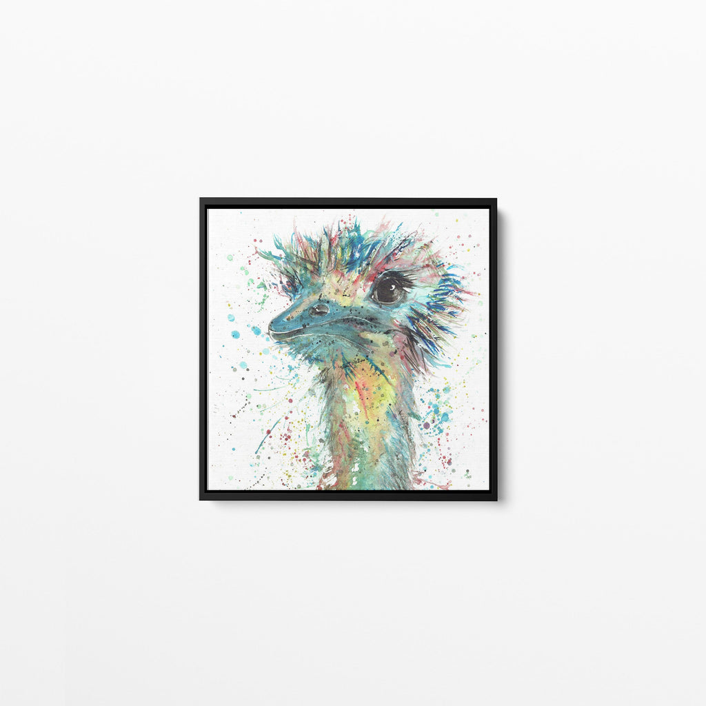 """Ethel"" Ostrich Square Framed Canvas Print"