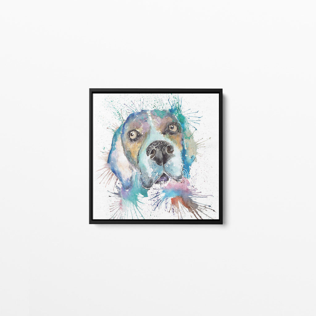 """Ralph"" Beagle Square Framed Canvas Print"