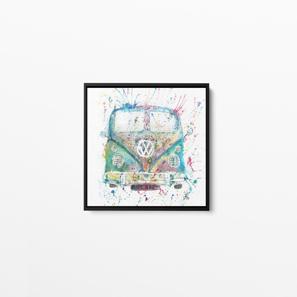 Camper Van Square Framed Canvas Print