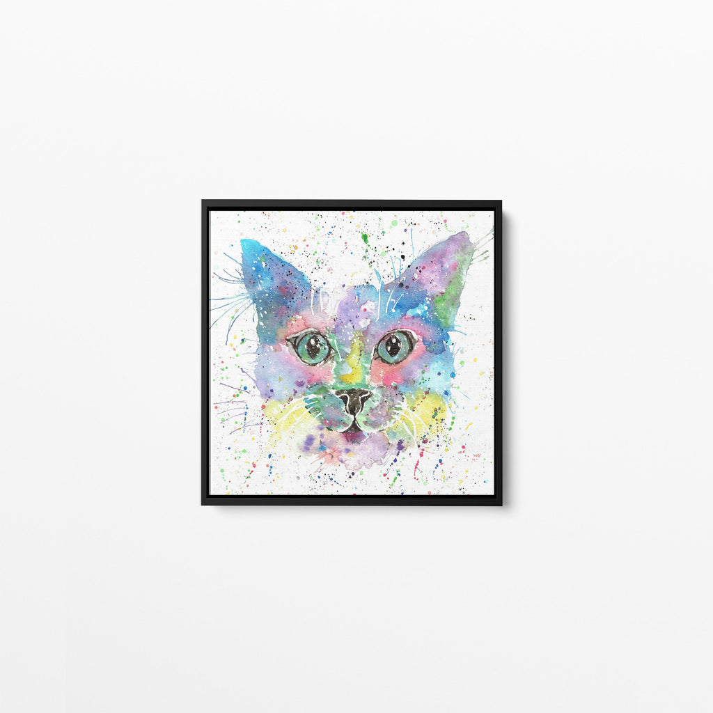 """Meep"" Cat Square Framed Canvas Print"