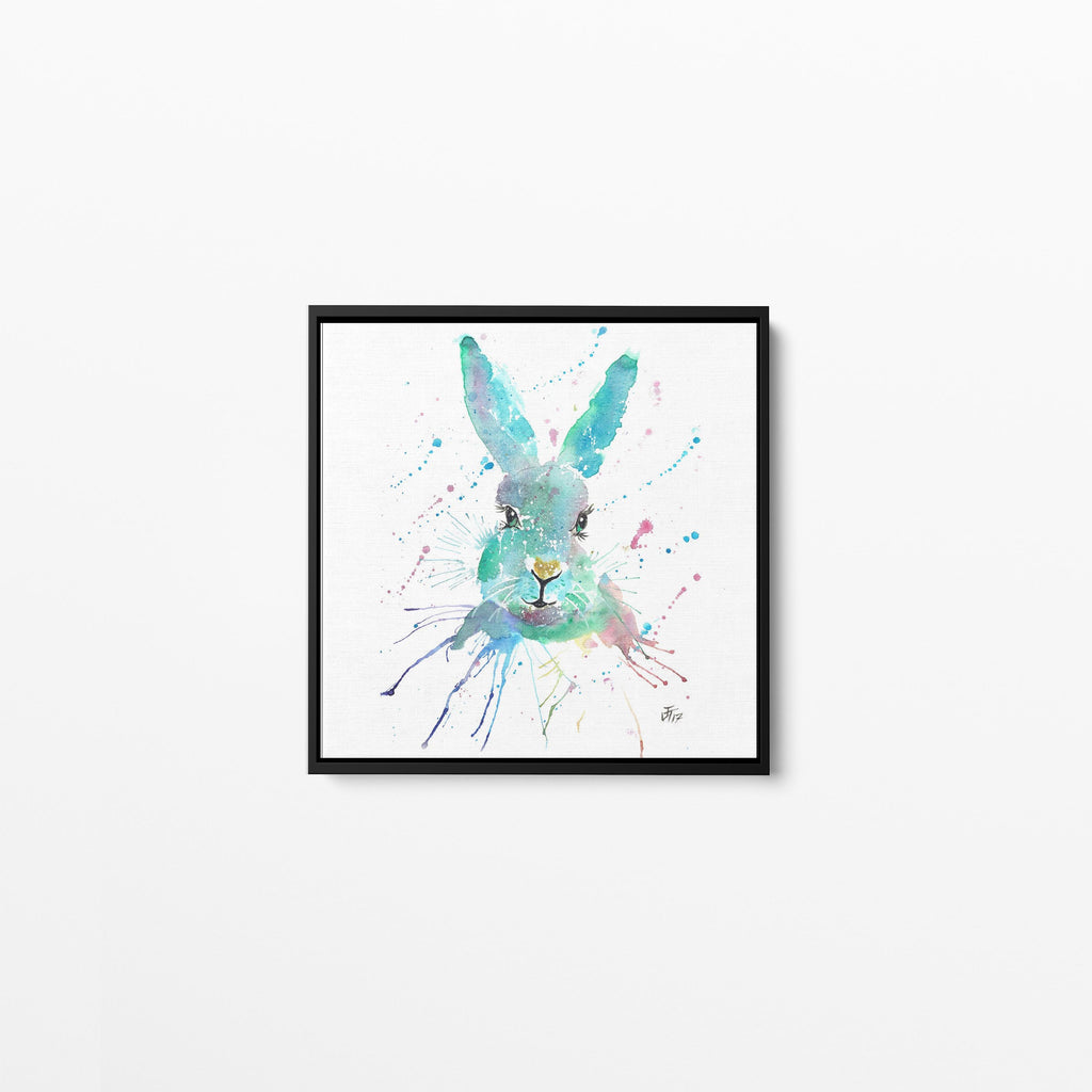 """Minty"" Hare Square Framed Canvas Print"