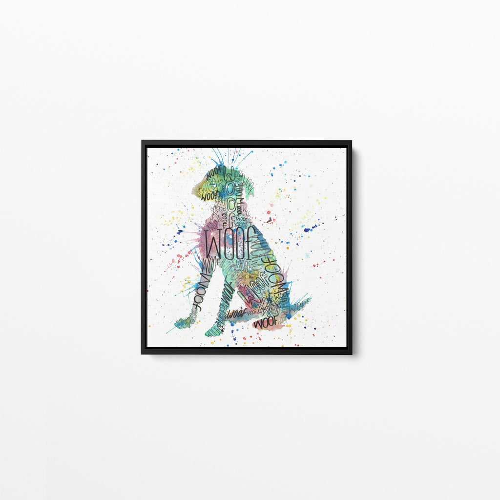 """Woof"" Blue Square Framed Canvas Print"