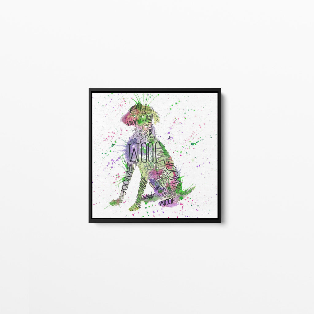 """Woof"" Green Square Framed Canvas Print"