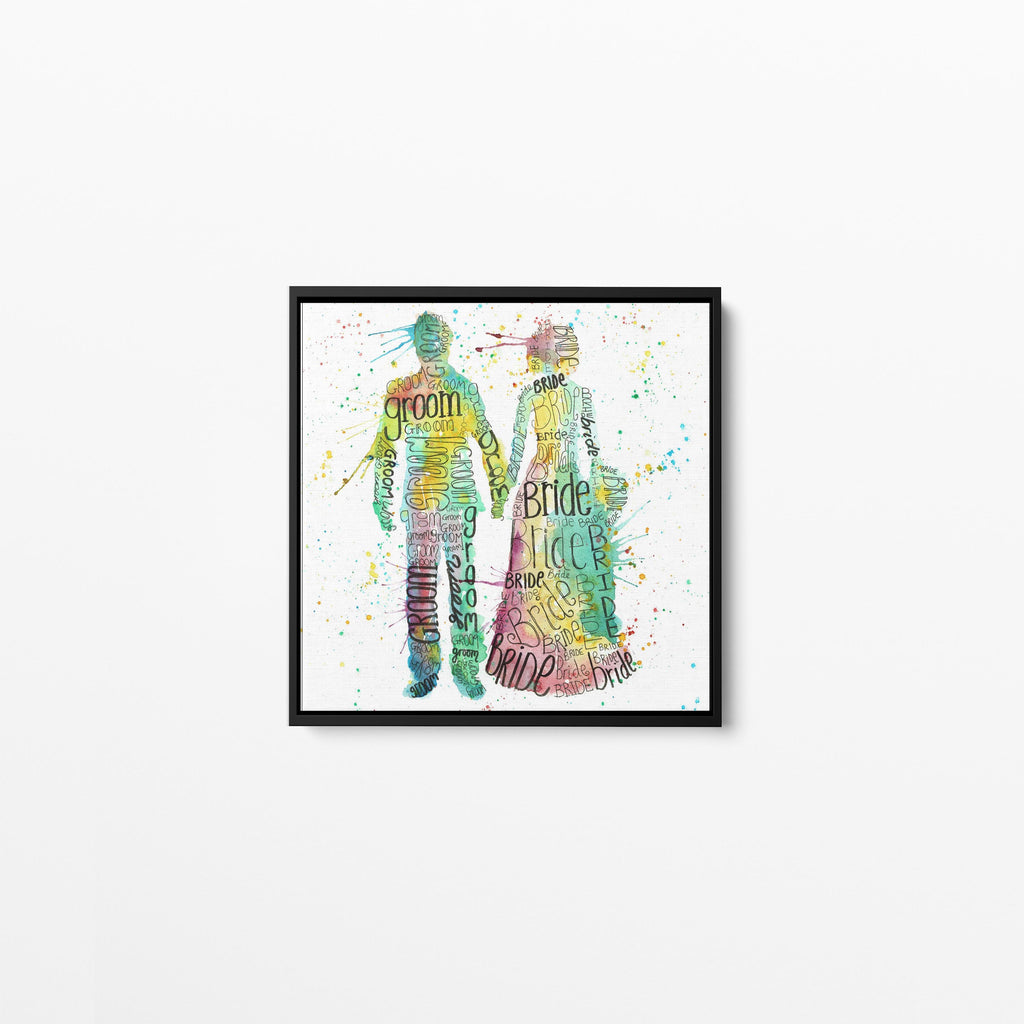 Bride & Groom Square Framed Canvas Print
