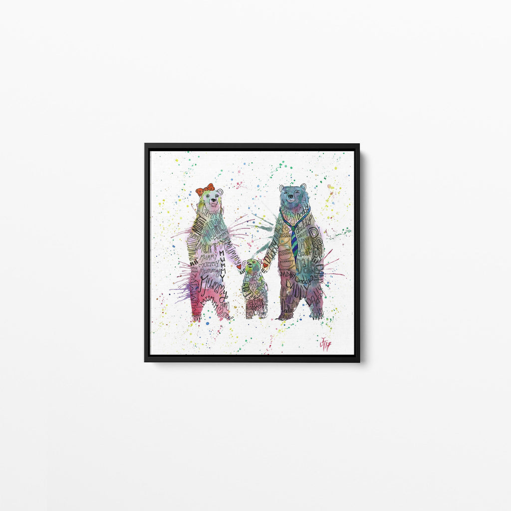 Mummy, Babby, Daddy Bears Square Framed Canvas Print