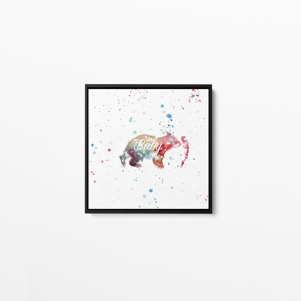 Baby Bear Square Framed Canvas Print