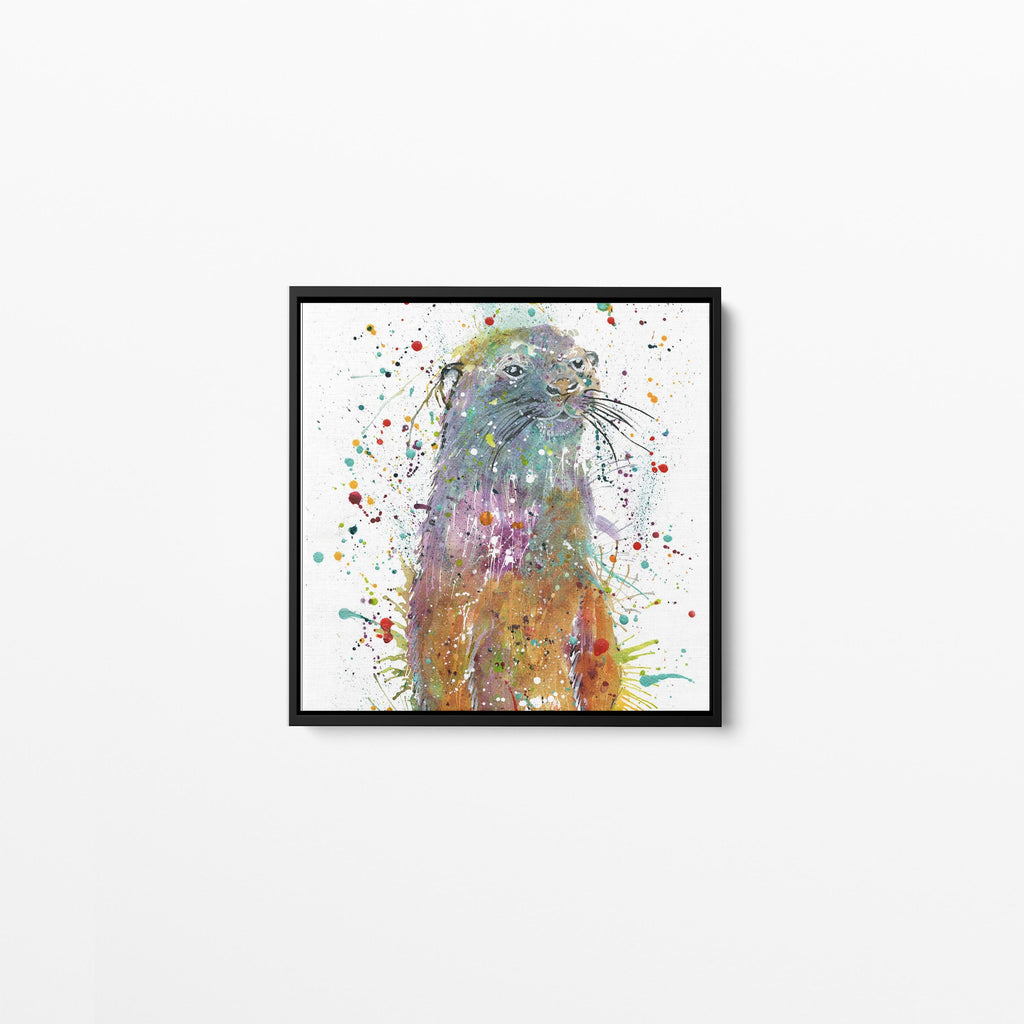 Ray Li Otter Square Framed Canvas Print