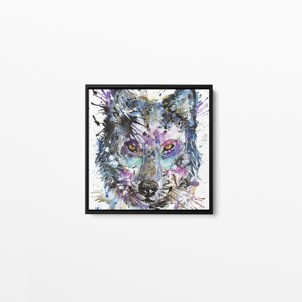 """Howl"" Wolf Square Framed Canvas Print"
