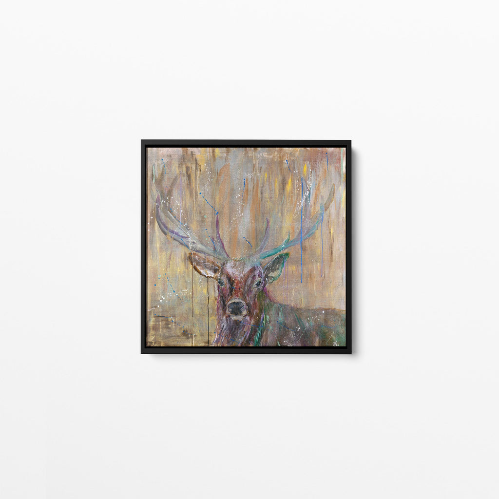 Illustrious Stag Square Framed Canvas Print
