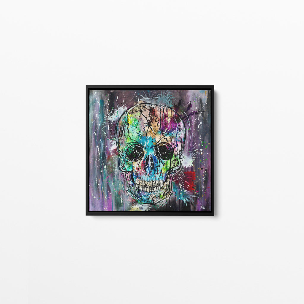 Vertex Skull Square Framed Canvas Print