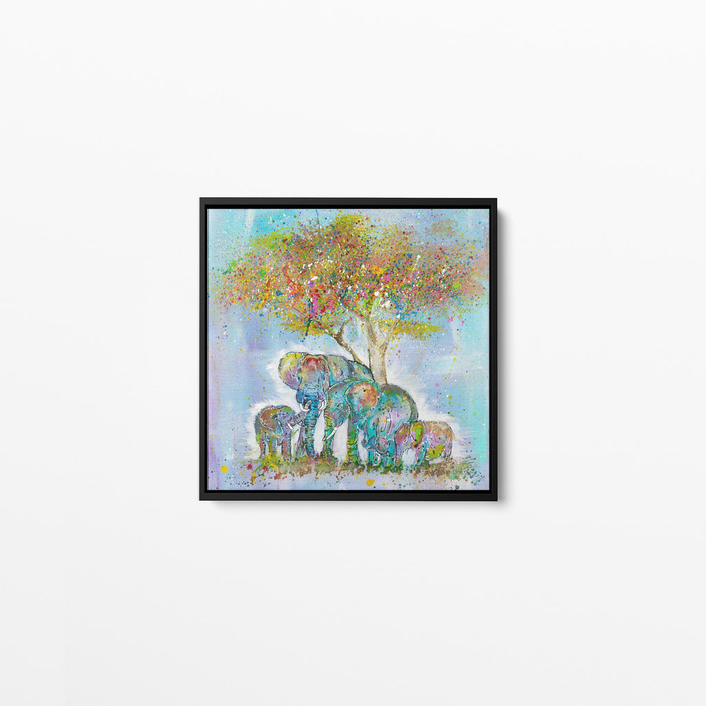 Blessed Elephants Square Framed Canvas Print