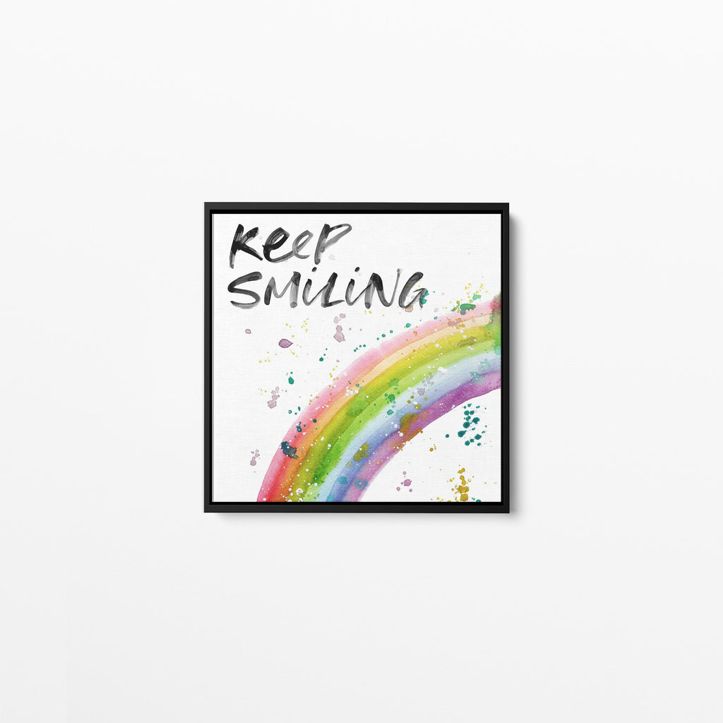 Keep Smiling Rainbow Square Framed Canvas Print